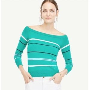 NWT Ann Taylor Striped Off Shoulder Sweater XS